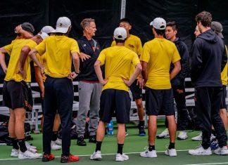 CMS men's tennis team at the 2020 DIII National Men's Team Indoors.