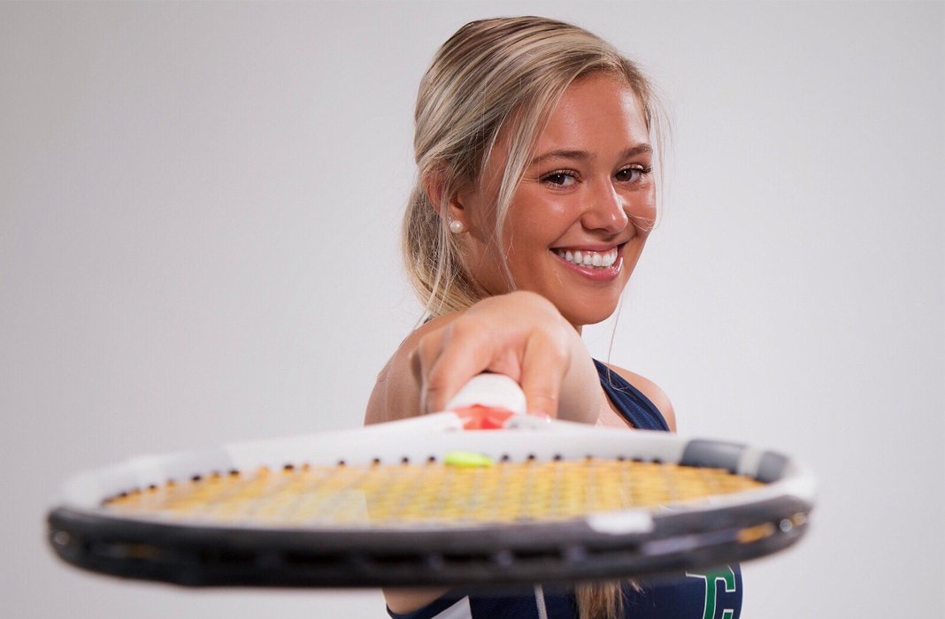 Emily Licciardi of Endicott College women's tennis poses for a picture during the 2019 season