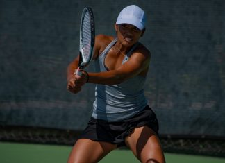 Eryn Cateyano of USC Women's Tennis returns during the 2020 Oracle ITA Masters by UTR