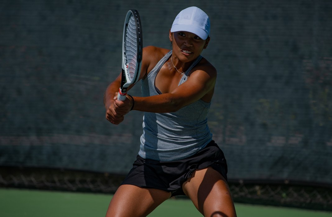 Eryn Cateyano of USC Women's Tennis returns during the 2020 Oracle ITA Masters by UTR