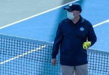 An ITA Official awaits players at the 2020 ITA National Fall Championships