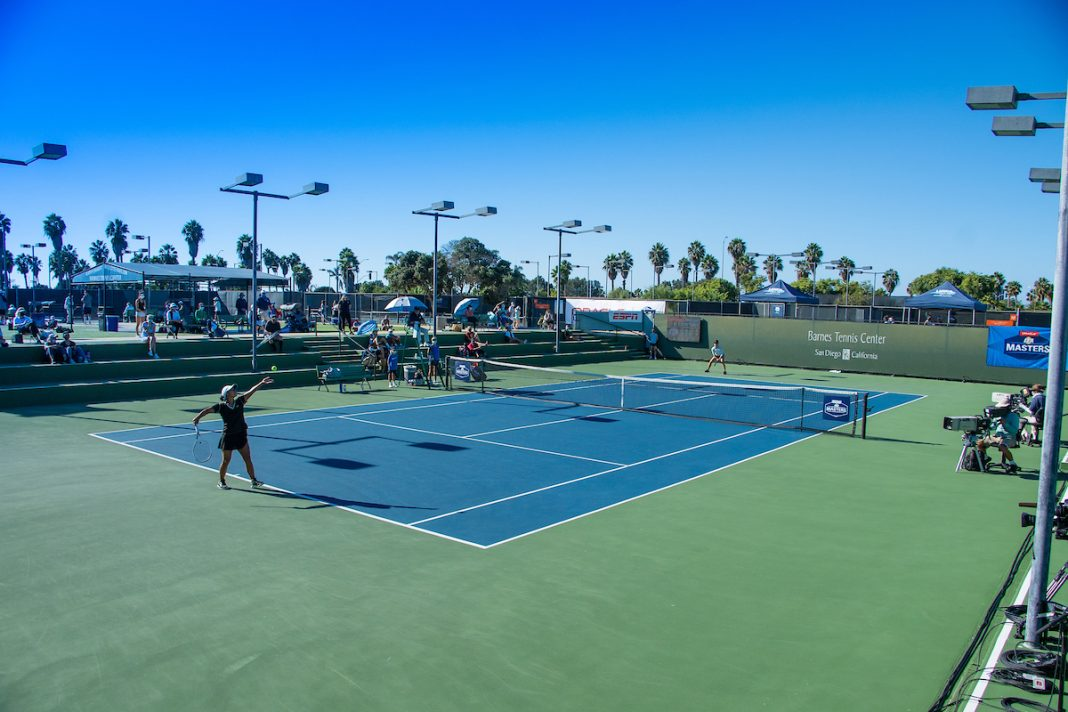 This image is a scene-setter of the Barnes Tennis Center's stadium court during the 2020 ITA Masters