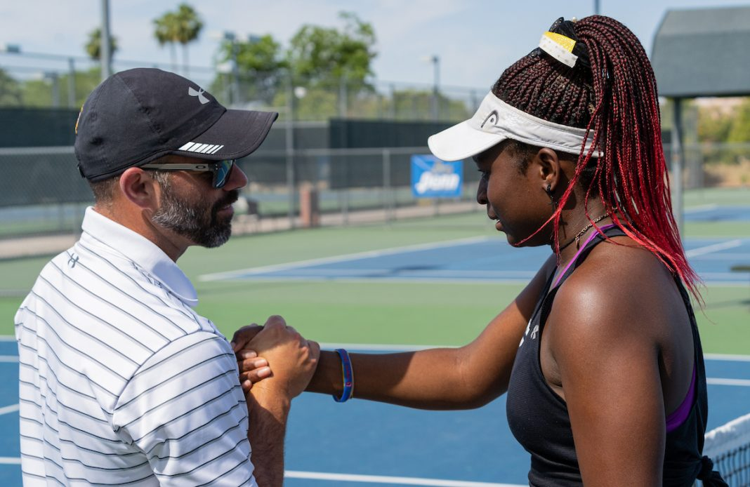 Destinee Martins embraces Dash Connell at the 2021 NJCAA Women's Tennis Championships